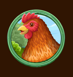 Hen icon in frame vector