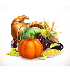 Horn of plenty Harvest fruits and vegetables vector image