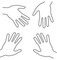 Human hands outline palm hand symbols vector