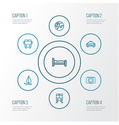 Journey outline icons set collection of auto vector