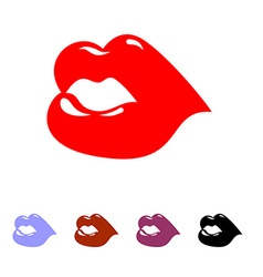Kiss Juicy bright womens lips Set of colored vector image vector image