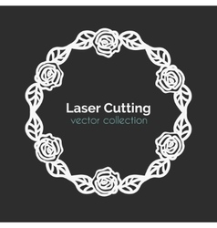 Laser Cutting Template Round Card with Roses vector image vector image
