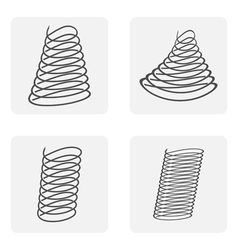 Monochrome icon set with spring shock absorber vector