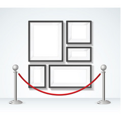 picture frame and silver rope barrier constructor vector image vector image