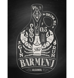 Poster bottle of alcohol with hand drawn lettering vector image vector image