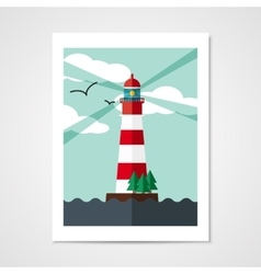Poster with red beacon on island vector