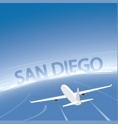 San diego skyline flight destination vector