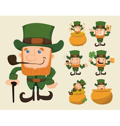 Set of leprechaun characters poses vector image vector image