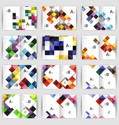 Set of square geometrical business brochure vector