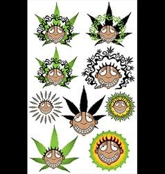 Smiling happy relaxed guy smoking marijuana vector
