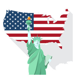 statue of liberty with american map design vector image vector image