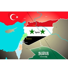 Syria geopolitical map with proposed oil pipeline vector