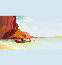 Thailand landscape long tail boat seascape vector