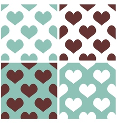 Tile hearts background set vector image