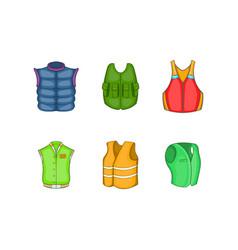 vest icon set cartoon style vector image