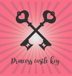 vintage crossed keys on pink background vector image