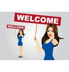 woman with welcome text message vector image