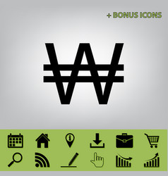 Won sign black icon at gray background vector