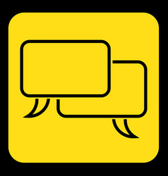 Yellow black sign two outline speech bubbles vector