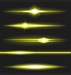 Yellow laser beams pack vector
