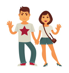 Young couple man and woman flat characters vector