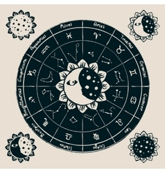 zodiac with the sun vector image
