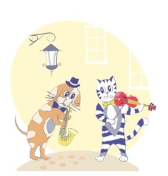 Cat and dog musicians vector image