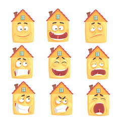 Funny cartoon humanized house with with many vector