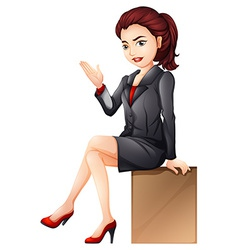 A woman sitting down vector
