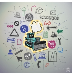 Industrial hand drawn icons set and sticker with vector image