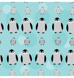 Funny penguins on blue background seamless pattern vector