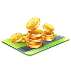Coins with credit card vector