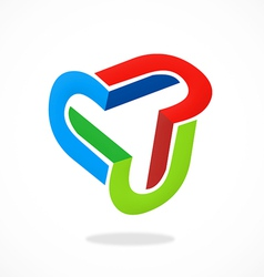 3D circle shape abstract logo vector image vector image