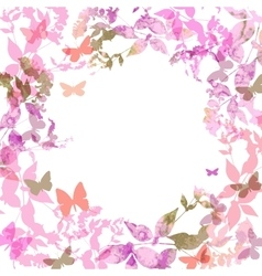 Spring background colorful butterflies set wreath vector