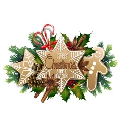 Christmas card with sweet design vector
