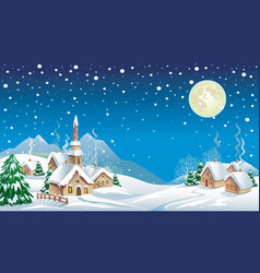 christmas night in the village vector image