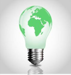 Light bulb with green world map vector