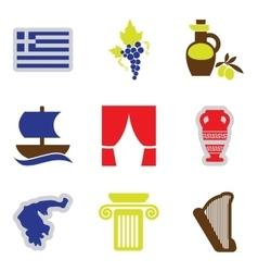 Set of flat web icons on white background Greece vector image