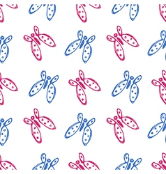 Seamless pattern with cute butterflies vector