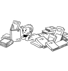 Black and white kid with books vector