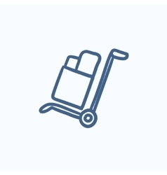 Shopping handling trolley sketch icon vector