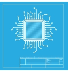 Cpu microprocessor  white section of vector