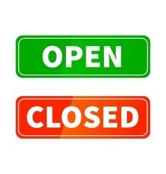 Open and closed glossy signs for shop door vector