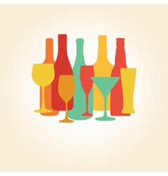 Alcohol bottles and glasses pattern beer champagne vector