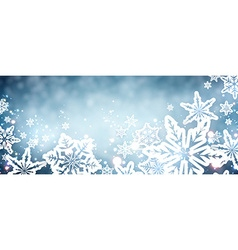 Blue winter banner with snowflakes vector image
