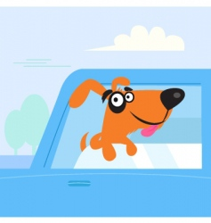brown dog travelling in car vector image vector image