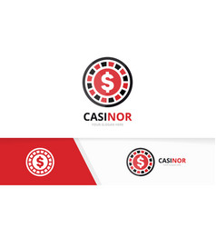 casino logo combination chip and game vector image
