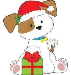 Christmas puppy vector