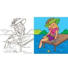 Colouring book of girl with cat vector
