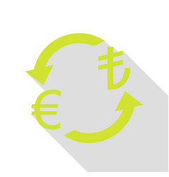 Currency exchange sign euro and turkey lira pear vector